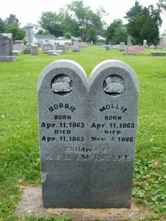 Bobbie and Mollie McIntrye. Two small children at Pine Street Cemetery Gallipolis, Ohio Cemetery Monuments, Cemetery Headstones, Old Cemeteries, Graveyards, Pet Cemetery, Memorial Stones, Memento Mori, Death, Grave Markers