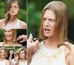 Leo DiCaprio's Girlfriend, Toni Garrn New Haircut For Vogue Paris Blunt Bob Haircuts, New Haircuts, Bob Hairstyles, Long Hair Cut Short, Short Hair Styles, Forced Haircut, Before And After Haircut, Toni Garrn, Cut Her Hair