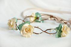 rustic+lake+blue+leaf+beige+roses+handmade+floral+by+VividLion