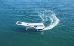 Designed by Japanese artist Yasuhiro Suzuki, this motor boat looks like a big zipper