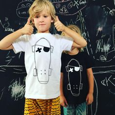 Don't you just hate it when your older brother steals all the attention. #monochrome #kidsapparel #pirate #skateboard #siblings