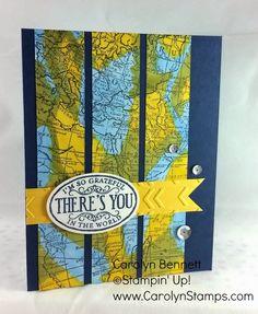 World Map Love - TSSC348 sketch challenge - Chalk Talk masculine blendabilities Stampin Up Carolyn Bennett