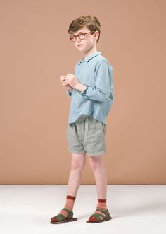 Alkanet Shirt, Blue Grid, 10y by Caramel Baby & Child