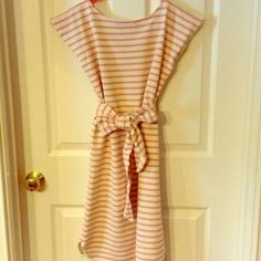 Bell by Alicia Bell dress Cap sleeve light pink and cream striped dress with bow sash.  Only worn twice Bell Dresses