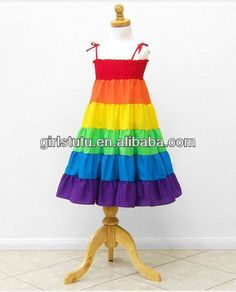 Rainbow Color Baby Flower Girl Dresses Fashion Design Strap Small ...