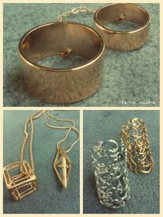 Gold plated rings end pendants