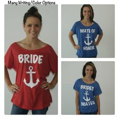 3 bridesmaids tee shirts with anchor. maid of by BrideAndEntourage