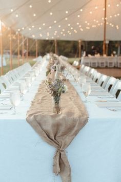 rustic burlap wedding table runner via Photo by Ashleigh Hobson / http://www.himisspuff.com/wedding-table-centerpieces-runners/7/