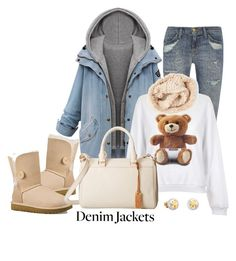 """""""Denim Jackets 5"""" by celllador ❤ liked on Polyvore featuring UGG Australia, Current/Elliott, Moschino, La Fiorentina, UGG and TOUS"""