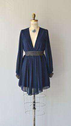 Girl Cadet dress vintage 70s dress navy chiffon by DearGolden