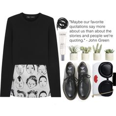 Maybe stories say more about us by cjcstyle on Polyvore featuring Proenza Schouler, Dr. Martens, Alice + Olivia, Lancôme, Allstate Floral and Urbanears