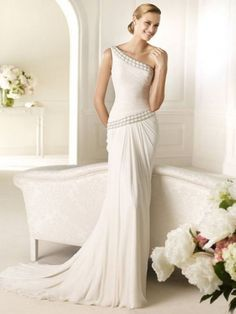 Sheath/Column One Shoulder Sweep Train Chiffon Wedding Dress