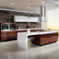 OP13-285: Modern Lacquer and High Glossy Wood Veneer Kitchen Cabinet