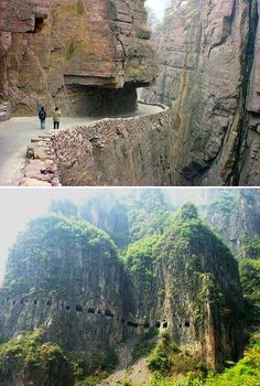 The road in Taihang mountains was built by local villagers: it took five years to finish the 1,200 metre long tunnel which is about 5 meters high and 4 meters wide. Some of the villagers died in accidents during construction; undaunted, the others continued. On May 1, 1977, the tunnel was opened to traffic.
