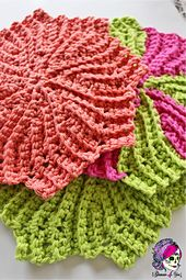 I was looking for a unique dishcloth pattern that was not the norm….and then I stumbled upon The Almost Lost Washcloth Pattern & it was EXACTLY what I was looking for!! Simple, sweet, different, unique…..but it was KNIT! Being an Obsessed Fiber Artist, this did not discourage me. I do know how to knit, very basically. But my true love is & will always be Crochet. (Nothing against the Knitters out there - I am in AWE of how beautiful & amazing knit is!!)