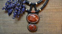 """Купить Колье """"Отблески зари"""" - бордовый, украшения ручной работы, украшение с камнями, изделия из кожи"""