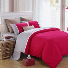 Red and Grey Solid Color Simply Chic Traditional Romantic Warm 100% Cotton Damask Girls Twin, Full, Queen Size Bedding Sets