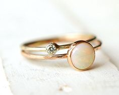 Opal Ring, Moissanite Ring, Infinity Knot Ring, Ring Set, Push Present, gift for her, stacking rings, 14k gold ring, rose gold ring, promise  A lovely ring set made with recycled 14k gold can be stacked, added to your wedding band and gifted to your favorite person! You will receive two rings: one 14k Opal ring with infinity knot nestled beside the stone and one 14k moissanite ring. Each ring can be made in any 14k gold (rose, yellow or white) and can be also requested in 2 different ring…