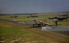 Avro Lancaster heavy bomber R5689 (VN-N), of No. 50 Squadron RAF, prepares to take-off from RAF Skellingthorpe during World War II, 1942. The aircraft was delivered to 50 Squadron in June 1942, but was destroyed when it crashed on landing at Thurlby, Lincolnshire on 19th September that year.