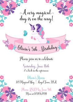 Invitación de unicornio Invitación del cumpleaños del