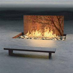 """Tree Wall"" by Elena Colombo. 8 ft long fire pit with corten steel panel with acid-etched tree."