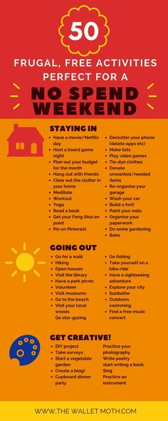 50 Free Activities for a No Spend Weekend! 50 Free Activities for a Frugal No Spend Weekend! Save money in your budget with these free activities for all the family. Saving Ideas, Money Saving Tips, Money Tips, Saving Money Chart, Saving Time, Managing Money, No Spend Challenge, Savings Challenge, Weekend Activities