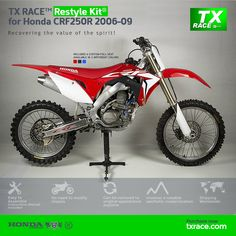 TX RACE™ Restyle Plastic Kit® for Honda CRF250R 2006 2007 2008 2009 is an update and modernization of the aesthetic line of this 4-Stroke model of Honda [CRF] Motocross/Enduro. TX RACE™ offers an attractive solution that is easily assembled, and no chassis modification is necessary. The TX RACE™ Restyle Plastic Kit® notably enhances the appearance of your motorcycle, more than compensating for the cost of the kit. Honda, Mx Bikes, Seat Available, Super Bikes, Motocross, Racing, Motorcycle, Kit, Plastic