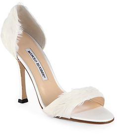Manolo Blahnik Catalina d'Orsay Satin & Feather Pumps on shopstyle.com