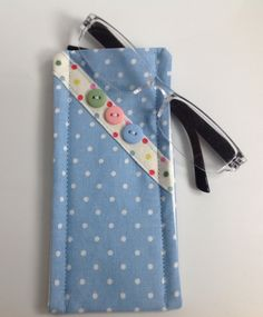Cath Kidston Blue Mini Dot Fabric Glasses Case Handmade in Scotland by sewmoira on Etsy