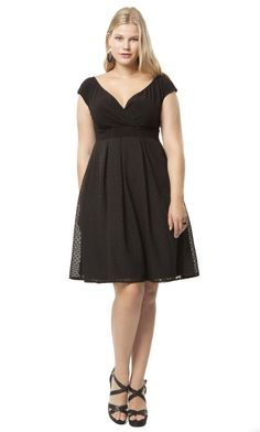 The classic LBD with a flattering V neckline and empire waist along with a dotted skirt makes this the perfect dress for the holidays. Adelle Dress in Noir Dot | IGIGI | Women's Plus Size Holiday Dresses | Hey Gorgeous!