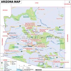 Arizona Map for free download and use. The map of Arizona, known as The Grand Canyon State, shows cities, lakes, rivers, rail lines, attractions, roads, airports, national parks, etc