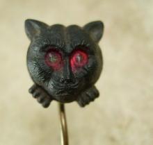 ANTIQUE Stickpin Black cat Victorian Halloween red eye vampire dracula era Figural jewelry late 1800s