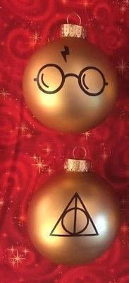 NEW Gold Glass Christmas Tree Ornament Harry Potter Deathly Hallows Glasses Scar