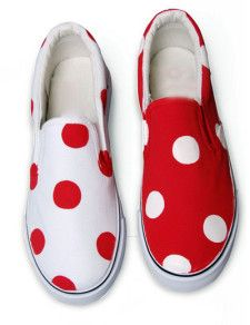 Alluring Red Canvas TPR Sole Painted Shoes For Women