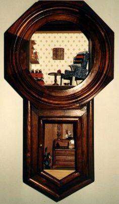 Miniature room in a clock by Beau Cottrell     doll, house, dollhouse, miniature, shadow, room, box, diorama, vignette, scene