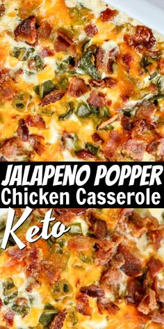 Keto Jalapeno Popper Chicken Casserole - Enjoy all the flavors of a jalapeno popper in the form of a low carb casserole! Serve this hearty dinner with your favorite veggies for a complete Keto dinner that everyone will love! Low Carb Chicken Casserole, Low Carb Chicken Recipes, Keto Recipes, Cooking Recipes, Healthy Recipes, Jalapeno Casserole Recipe, Casseroles With Chicken, Easy Low Carb Recipes, Cabbage Roll Casserole