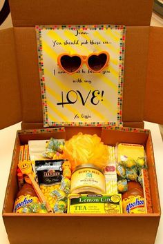 """Do you know someone having a bad day, or dealing with a tough situation? Be a great friend and send them a box of """"sunshine""""! Find a bunch of yellow or brightly colored items and packag…"""
