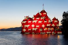 All Dressed Up l Chateau de Chillon, Swiss National Day ~ August National Days August, Swiss National Day, Switzerland Christmas, Swiss Flag, Swiss Switzerland, Adventure Awaits, Abstract Landscape, San Francisco Skyline, Scenery