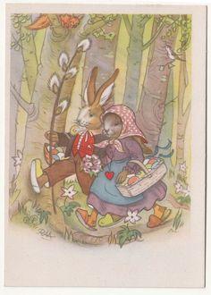 Ak vermenschlichte Osterhasen spazieren Charlotte Baron RAA um 1950 ! (A645 in Sammeln & Seltenes, Ansichtskarten, Motive | eBay