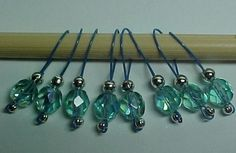 Stitch Markers - Light Aqua On Crater Lake Blue Wire - Set of 8 - US 5 - Item No. 452, $8.00