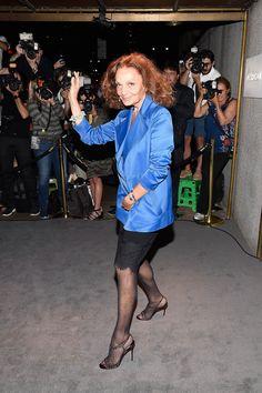 Diane von Furstenberg au défilé Tom Ford, Fashion Week de New York, Septembre 2016