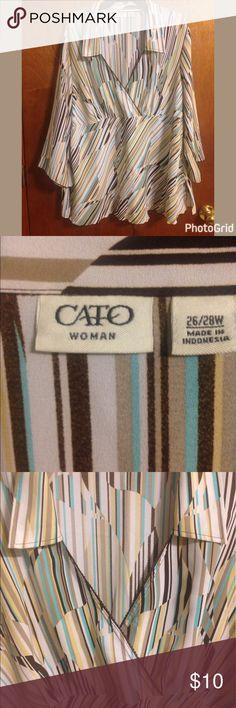 Nice blouse by Cato size 26/28W Pretty mock wrap around blouse by Cato in size 26/28 women's. Cato Tops Blouses