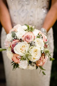 A Beautiful Music Inspired Wedding At The Crazy Bear In Stadhampton With A Jenny Packham Esme Wedding Dress and A Pink And Cream Avalanche Rose Bouquet.  Image by Ann-Kathrin Koch Photography