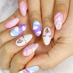 Many people have a passion for unicorn nails. And Unicorn nails are becoming a unique trend. If you think you have a different opinion, you should take a closer look at this list of Unicorn nail designs right away. We are convinced that even those w Unicorn Nails Designs, Unicorn Nail Art, Unicorn And Glitter, Trendy Nails, Cute Nails, Hair And Nails, My Nails, Nail Art Designs, Nailart