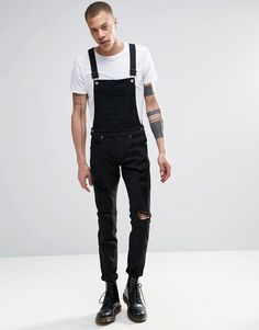 Dr Denim Ira Skinny Ripped Overall Jeans in Black - Black