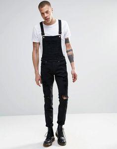 Dr. Denim – Ira – Schwarze Skinny-Jeans mit Latzdesign und Zierrissen
