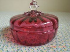 Red Glass Covered Bowl Could Be Cranberry Glass Vintage | eBay
