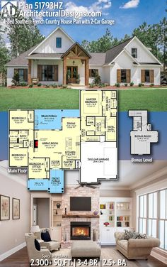 Plan Southern French Country House Plan with Garage Add large closet to back entry, make 3 car garage, extra storage, kitchenette and deck to bonus room. Ranch House Plans, New House Plans, Dream House Plans, Ranch Floor Plans, Family Home Plans, House Design Plans, 2200 Sq Ft House Plans, Rambler House Plans, Large House Plans