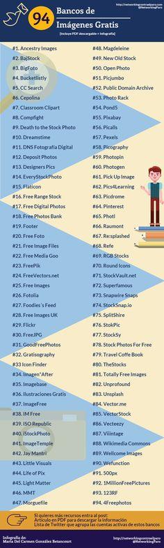 94 Bancos de Imágenes gratis #infografia #infographic #design