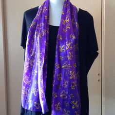 Purple And Gold Scarf 100% Polyester looks like Silk. Purple background with gold fleur de lis Accessories Scarves & Wraps